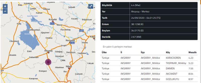 Deprem Aksaray'ı 4,4 şiddetinde salladı