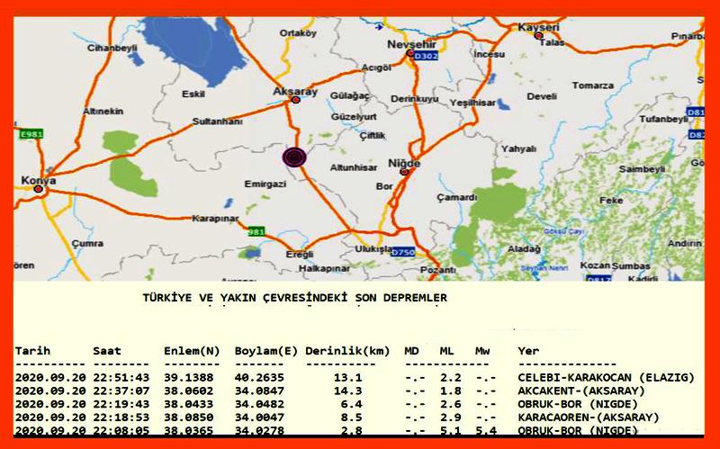 5.1 büyüklüğünde deprem Aksaray'ıda salladı
