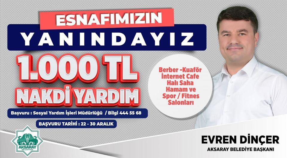 Aksaray Belediyesi Esnaflara Destek Paketinin Kapsamını Genişletti