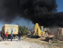 Aksaray'da Çiftlik cayır cayır yandı