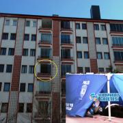 Aksaray'da yaşlı adam 5. kattan beton zemine düştü.