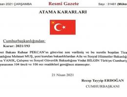 Cumhurbaşkanı ve Başbakan Recep Tayyip Erdoğan Kabinede değişikliğe gitti