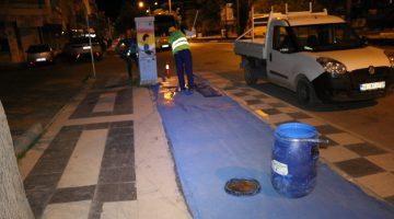 Haluk Şahin Yazgı döneminde yapılan Bisiklet yolları boyanıyor