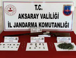 Aksaray Jandarma'dan Tarihi eser ve uyuşturucu operasyonu